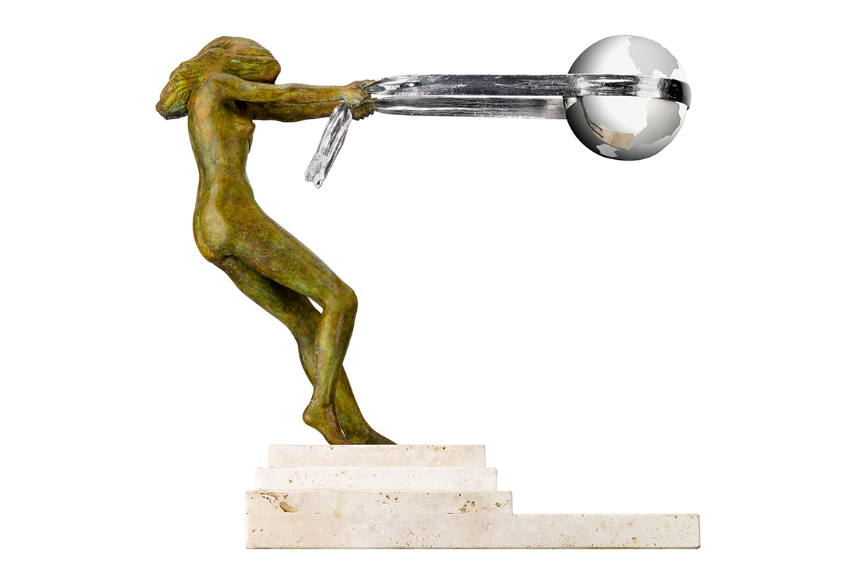 La Fuerza de la Naturaleza, Bronce y Mármol Travertino - Esculturas - Lorenzo Quinn