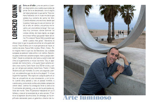 Barcelona Divina - Protagonistas - Lorenzo Quinn - Prensa - Junio 2016