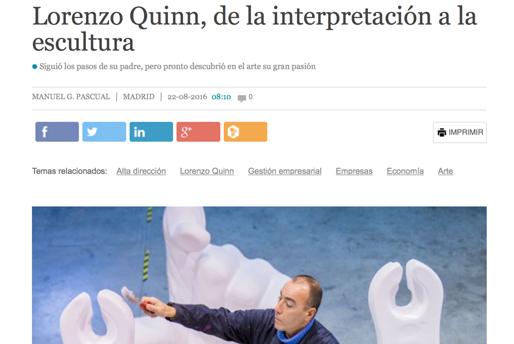 CincoDias.com - De la Interpretación a la Escultura - Lorenzo Quinn - Prensa - Agosto 2016