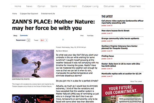 Culpurer Star Zann's Place - Mother Nature - Lorenzo Quinn - Press - May 2016