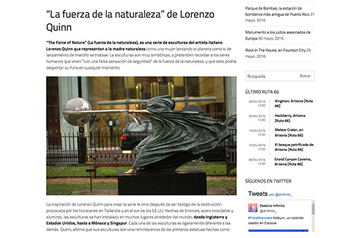 Destino Infinito - La fuerza de la naturaleza de Lorenzo Quinn - Press - February 2016