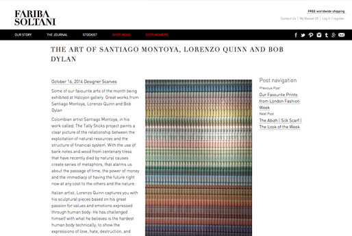 Fariba Soltani - The art of Santiago Montoya, Lorenzo Quinn and Bob Dylan - Press - October 2014