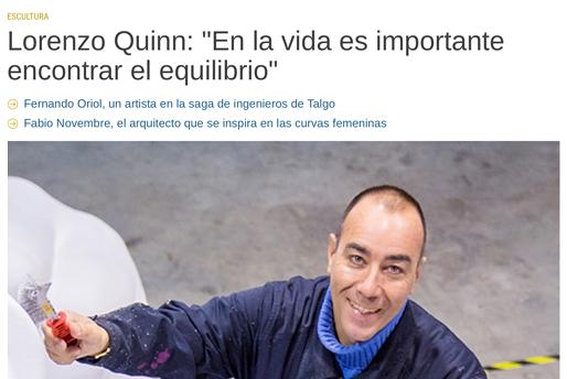 Fuera de Serie - Lorenzo Quinn - Prensa - Agosto 2016