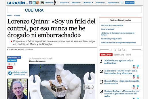 La Razón - Lorenzo Quinn - Soy un friki del control - Prensa - Junio 2016