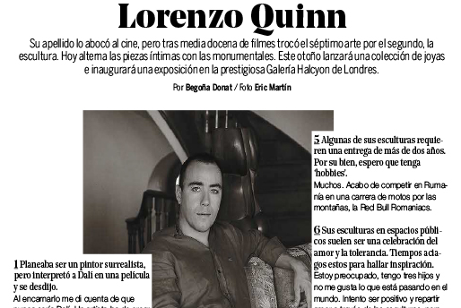 Yo Dona - Lorenzo Quinn - Press - September 2016