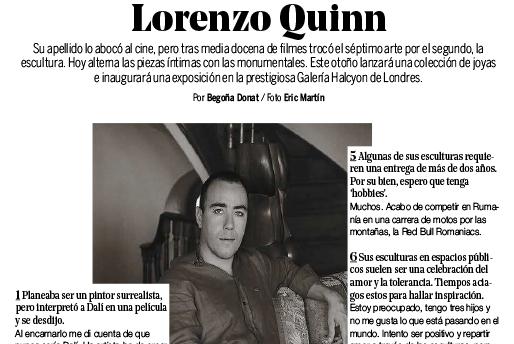 Yo Dona - Lorenzo Quinn - Prensa - Septiembre 2016