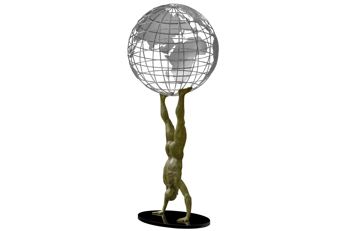 Lorenzo Quinn - Sculpture Atlas 2.0 - bronze, aluminum, stainless steel