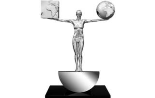 Lorenzo Quinn - Escultura Lo Mejor de los Dos Mundos - aluminio, acero inoxidable