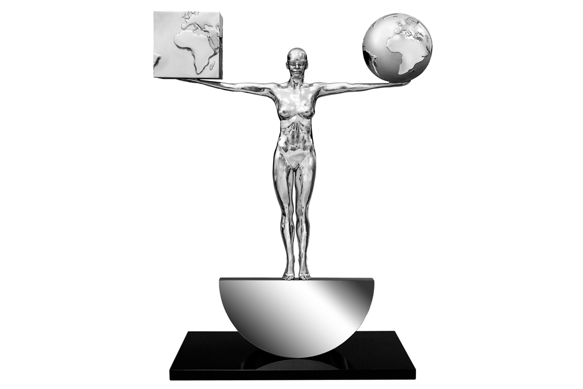 Lorenzo Quinn - Sculpture Best of Both Worlds - aluminum, stainless steel