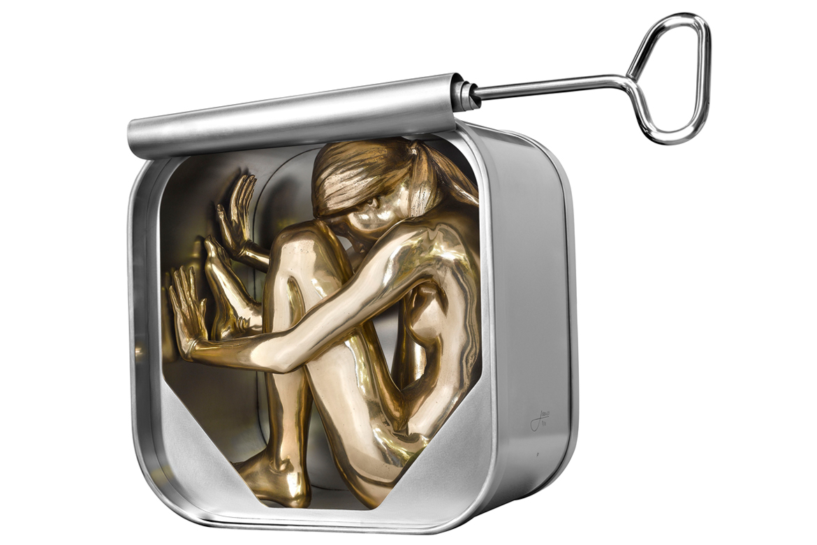Lorenzo Quinn - Sculpture Canned Society - bronze, stainless steel