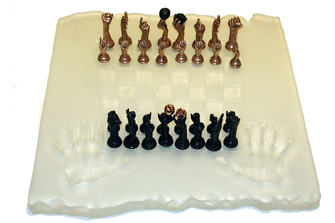 Lorenzo Quinn - Sculpture Chess Set - glass, bronze