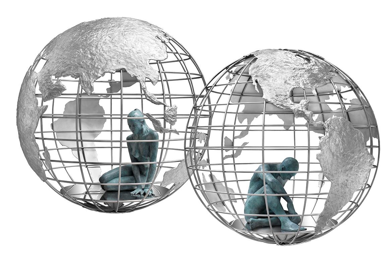 Lorenzo Quinn - Escultura Cada Uno en su Mundo - bronce