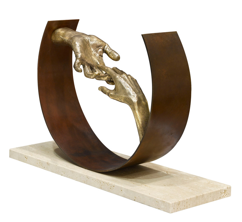Finding Love, Bronze and Travertine Base - Sculptures - Lorenzo Quinn
