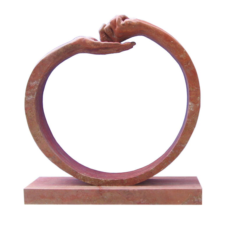 Give and Take III, Red Travertine - Sculptures - Lorenzo Quinn