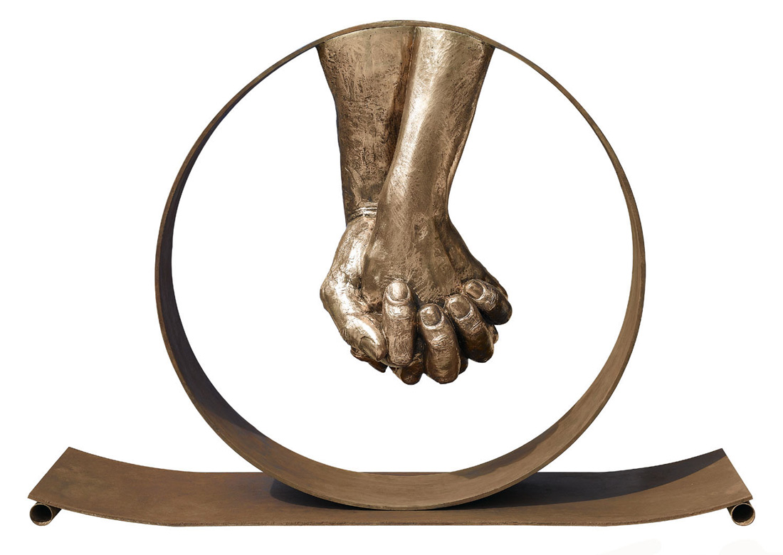 Love, Bronze, Brass Base - Sculptures - Lorenzo Quinn