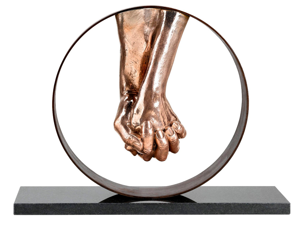Love, Bronze, Granite Base - Sculptures - Lorenzo Quinn