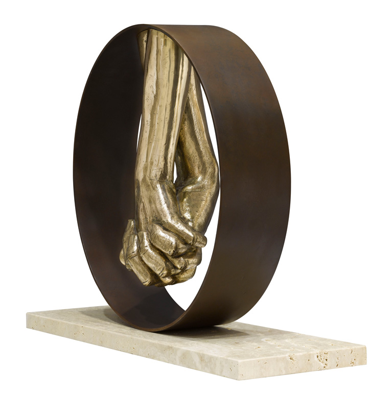 Love, Bronze, Travertine Base - Sculptures - Lorenzo Quinn