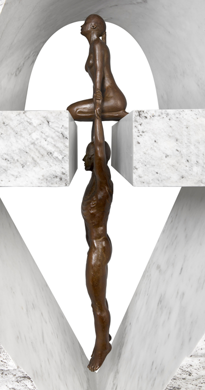 Gravity Female, Bronze and Carrara Marble - Sculptures - Lorenzo Quinn