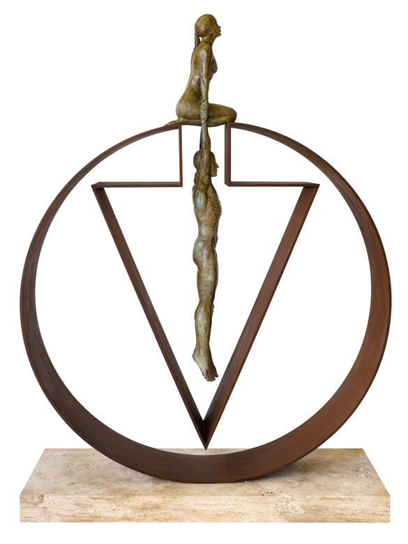 Gravity Female, Bronze and Brass - Sculptures - Lorenzo Quinn