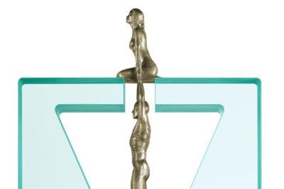 Gravedad Femenina, Bronce Blanco y Cristal - Esculturas - Lorenzo Quinn
