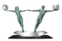 Balancing Our Worlds, Bronze - Sculptures - Lorenzo Quinn