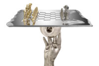 Chess Set - Queen Table, 70cm, White Bronze - Sculptures - Lorenzo Quinn