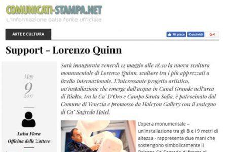 Comunicati-stampa.net - Venice Biennale - Lorenzo Quinn - Press - May 2017