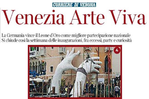 Corriere Di Verona - Venice Biennale - Lorenzo Quinn - Press - May 2017