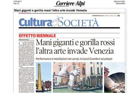 Corriere Alpi - Venice Biennale - Lorenzo Quinn - Press - May 2017
