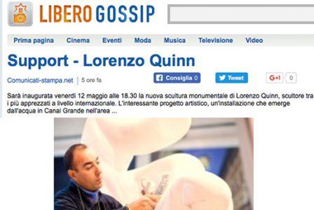 Gossip.libero.it - Venice Biennale - Lorenzo Quinn - Press - May 2017