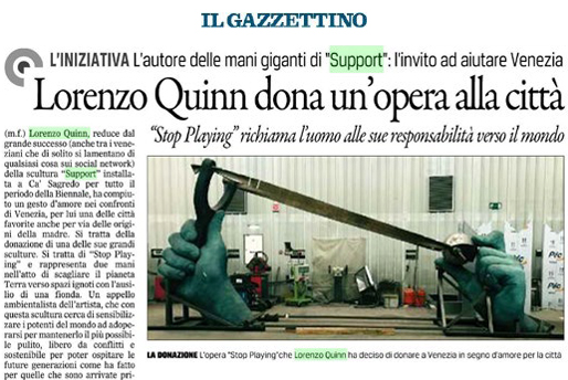 Il Gazzettino - Venice Biennale - Lorenzo Quinn - Press - May 2017
