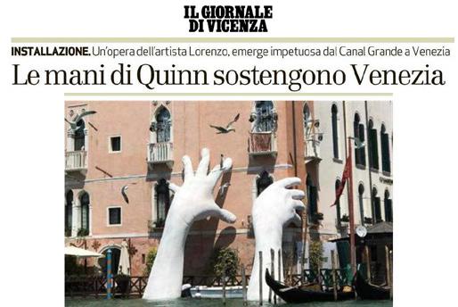 Il Giornale Di Vicenza - Venice Biennale - Lorenzo Quinn - Press - May 2017