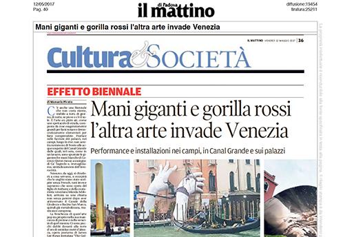 Il Mattino Di Padova - Venice Biennale - Lorenzo Quinn - Press - May 2017