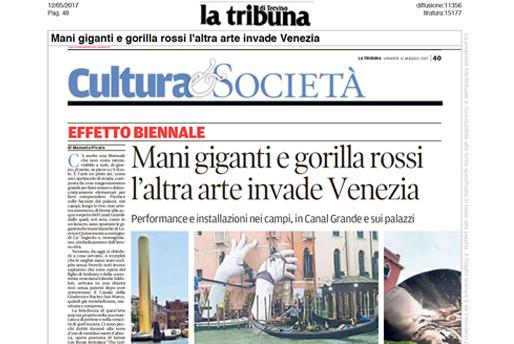 La Tribuna Di Treviso - Venice Biennale - Lorenzo Quinn - Press - May 2017