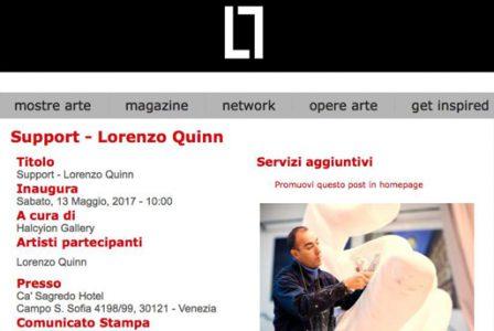 Lobodilattice.com - Venice Biennale - Lorenzo Quinn - Press - May 2017