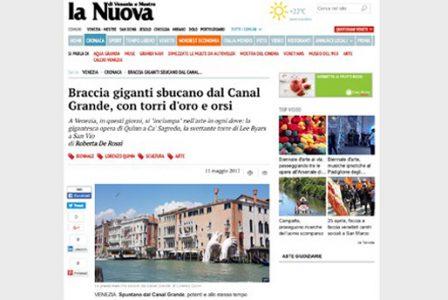 Nuovavenezia.gelocal.it - Venice Biennale - Lorenzo Quinn - Press - May 2017