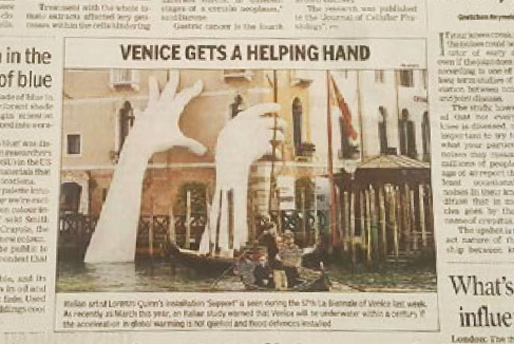 The Times of India - Bienal de Venecia 2017 - Lorenzo Quinn - Prensa - Mayo 2017