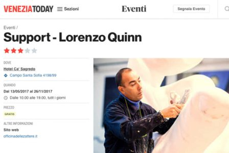 Veneziatoday.it - Venice Biennale - Lorenzo Quinn - Press - May 2017