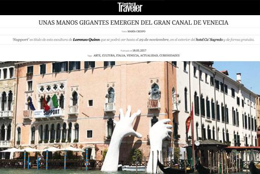 m.traveler.es - Venice Biennale - Lorenzo Quinn - Press - May 2017