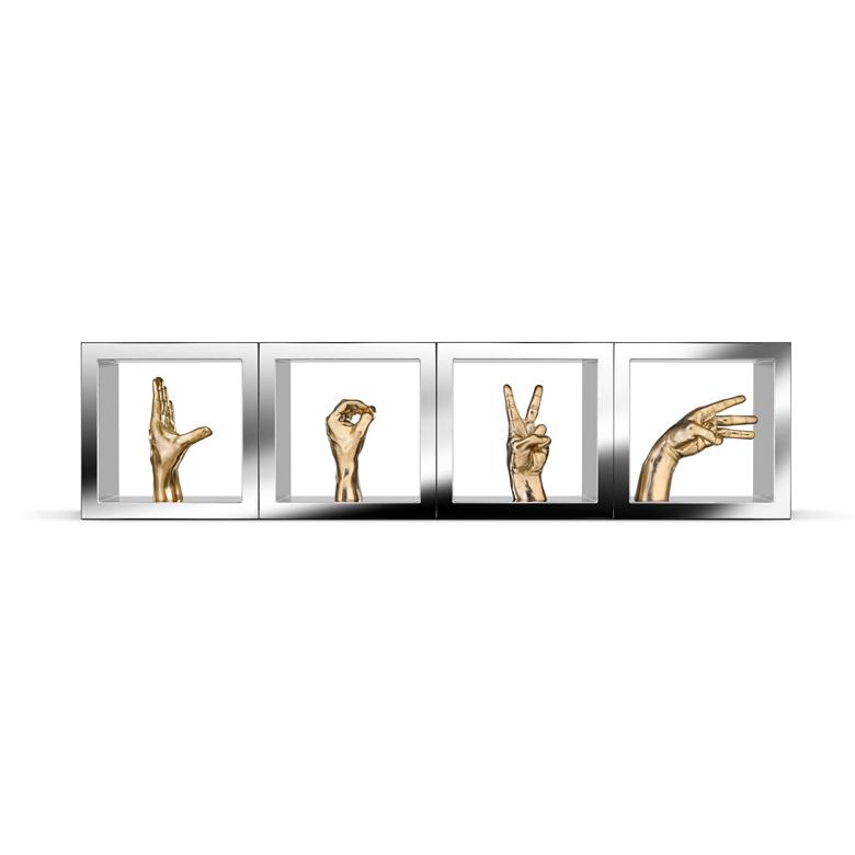 Acciones Dicen Más Que Palabras, Masculina, Bronce y Acero Inoxidable - Esculturas - Lorenzo Quinn