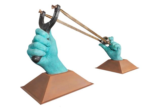 Stop Playing, Bronce, Bronce Cromado y Acero Corten - Esculturas - Lorenzo Quinn