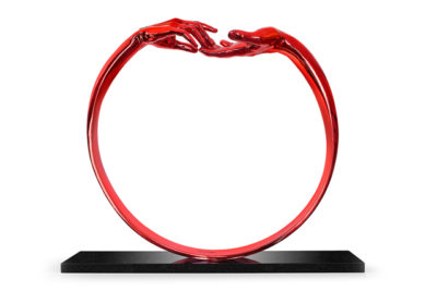 Finding Love, Ring - Red Painted Bronze - Sculptures - Lorenzo Quinn