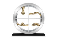 Circle of Love, Polished Bronze - 60cm - Sculptures - Lorenzo Quinn