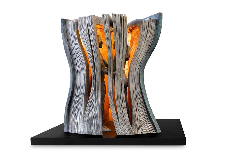 La Historia Perfecta, Bronce y Base Acero Corten- Esculturas - Lorenzo Quinn