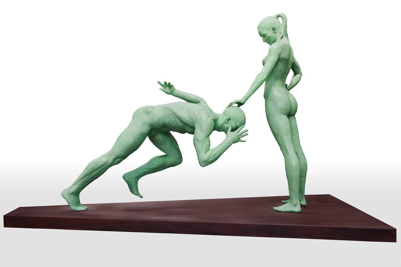 Slow Down, Bronce Pátina Verde - Esculturas - Lorenzo Quinn