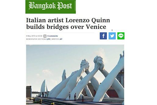 Bangkok Post - Building Bridges - Lorenzo Quinn - Press - May 2019