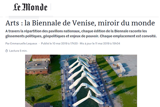 Le Monde - Building Bridges - Lorenzo Quinn - Press - May 2019