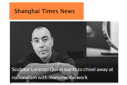Shanghai Times News - Building Bridges - Lorenzo Quinn - Press - May 2019