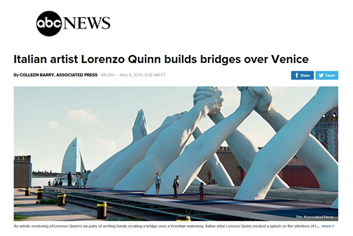 abc NEWS - Building Bridges - Lorenzo Quinn - Press - May 2019