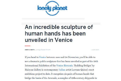 lonely planet - Building Bridges - Lorenzo Quinn - Press - May 2019